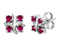SS Created Pink Sapphire X Earrings