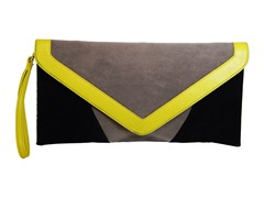 Velvet Clutch Bag, Grey Black & Yellow