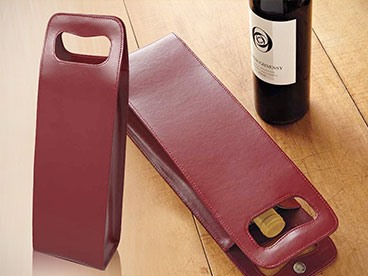 Red Leather Wine Tote (1 Bottle)