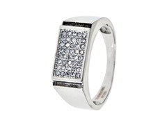 SS 5 Row Simulated Diamond Ring