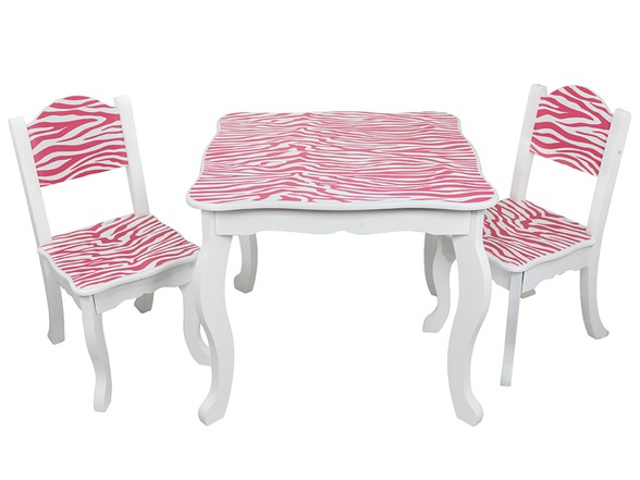 Zebra Table Chair Set White And Pink Kids Toys