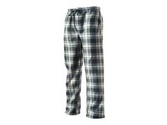 Men's Fleece Loungepants, Grey/Blk Plaid
