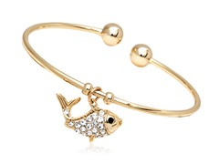 Gold/Clear Swarovski Elements Bass Fish Charm Bangle