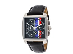 American Flag Black Leather Watch
