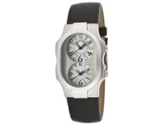 Women's Dual Time Black Leather Watch