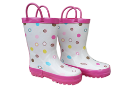 White Multi Dot Rain Boots