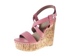 Carrini Strappy X Wedge Sandal, Coral
