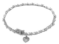 SS Flakes Diamond Accent with Heart Charm Tennis Bracelet
