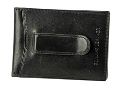Leather Flip Clip Wallet, Black