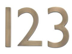 5-Inch House Numbers, Antique Brass