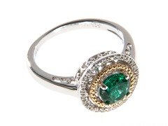 Silver & 14k Gold Emerald Ring
