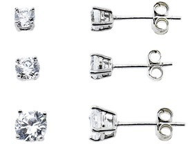 Diamonere Sterling Silver 3-Pack CZ Studs