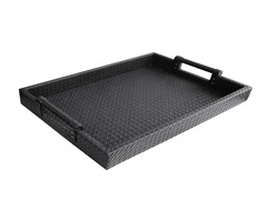 Black Faux Leather Tray with Handles