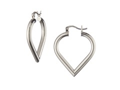 18k White Gold Plated Mini Heart Hoops