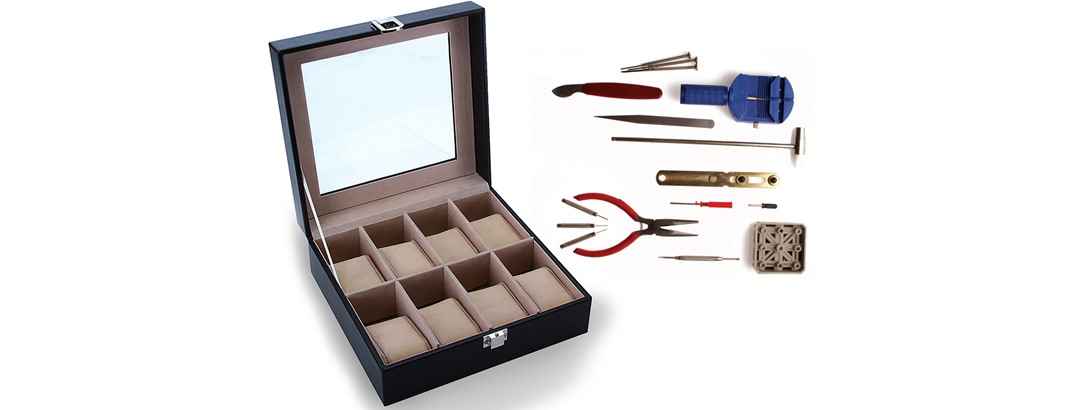 8 Compartment Watch Box With B...