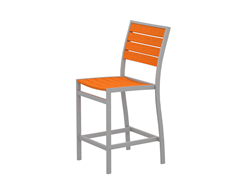 Euro Counter Chair, Silver/Tangerine