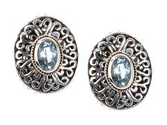 18kt Gold Accent Blue Topaz Stud Earring