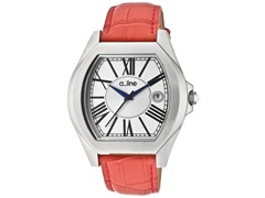 a_line Adore Silver Dial, Red Band