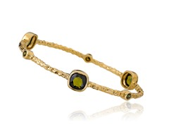 Riccova 14K Gold Plated Bangle, Olive