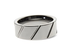 Tungsten Diagonal Polished Lines Ring