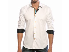 Jared Lang Dress Shirt, White/Black