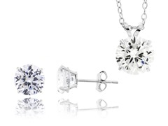 White Gold CZ Earring & Necklace Set
