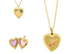 10kt Gold Reversible 'Mom' Heart Locket w/ Enamel Flowers