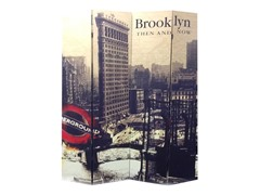 4 Panel Brooklyn Then and Now City Room Divider