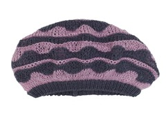 Anne Klein Scallop Stripe Slouch Beret, Purple/Grey