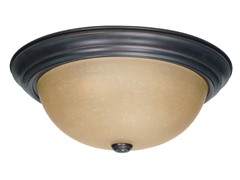 "3-Light 15"" Flush Mount, Mahogany Bronze"