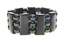 3 Rows Black Onyx & Pearl Bracelet