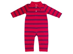 Red & Blue Striped Polo Coverall (3-12M)