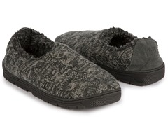Neal Cable Full Foot Slipper, Grey