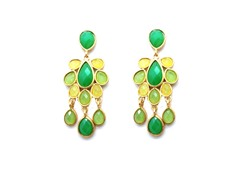 TearDrop Chandelier Green Epoxy Stone Dangling Earrings