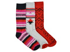 MUK LUKS ® Men's 3 Pair-Pack Crew Socks, Red/Black