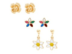 Set of 3 Flower Stud & Drop Earrings