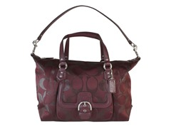 Signature Metallic L Satchel, Bordeaux