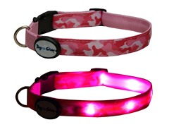 Dog-e-Glow Pink Camo LED lighted Collar- Large