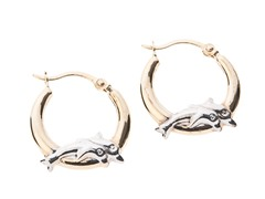 14kt Gold Dolphin Duo Hoop Earrings,Two Tone