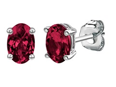 Platinum Enhanced SS Oval Created Ruby Earrings Studs