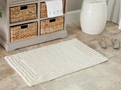 Plush 100% Cotton Bath Mat-Natural-2 Sizes