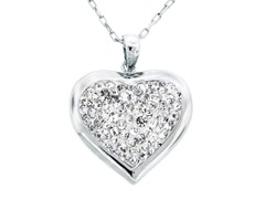 Silver Plated Puffed Heart Crystal Pendant w/ Chain