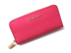 Jet Set Continental Saffiano Wallet,Neon Pink