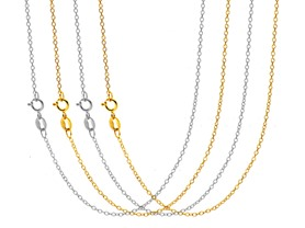 Beverly Hills Silver 4 Pack Gold Plated Cable Chain