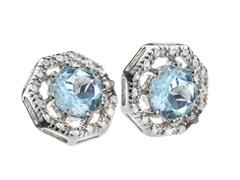 SS Octagon 8-Prongs Blue Topaz Gemstone w/Diamond Studs