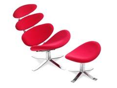 ZUO Petal Lounge & Ottoman Red