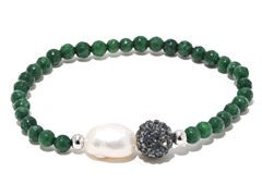 SS Dyed Emerald Gemstone Freshwater Pearl Crystal Ball Stretch Bracelet