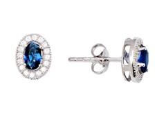 SS Blue Sapphire CZ Oval Stud Earrings