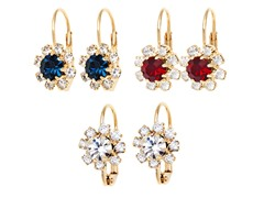 Sapphire, Ruby & Clear Crystal Flower Set of 3 Huggie Earrings