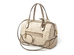 Coach Poppy E/W Satchel Signature Metallic, Khaki